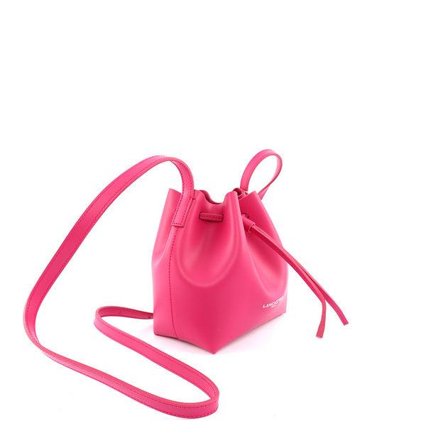 【LANCASTER】質感平紋牛皮側背水桶包(MINI)(童話粉) 423-15 FUXIA