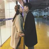 韓版毛呢子大衣女情侶裝冬季中長款風衣新款加絨加厚學生外套  聖誕交換禮物