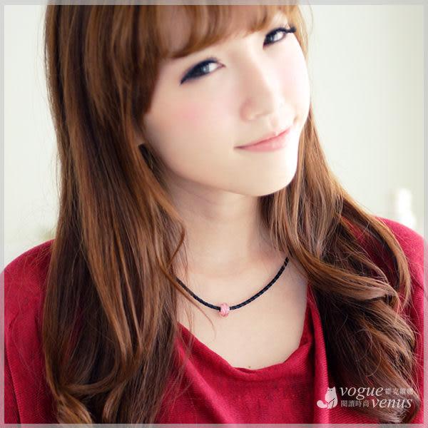 甜蜜之吻 橢圓粉紅白紋圓珠綴皮繩項鍊 925純銀項鍊 - 維克維娜