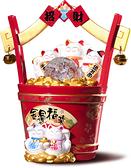 【金石工坊】金運福來一桶金風水球/流水噴泉(高25CM)招財貓七彩LED燈 開店送禮 開業禮品 開運風水
