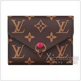 LV M41938 VICTORINE經典花紋LOGO Monogram帆布6卡扣式短夾(紫紅)