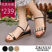 ZALULU愛鞋館 7EE278 現貨 名媛珍珠可二穿楔型涼鞋-米白/綠/黑-35-40