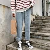 [S-5XL] 大碼牛仔褲女垂感高腰寬鬆泫雅九分直筒闊腿老爹褲 - 風尚3C
