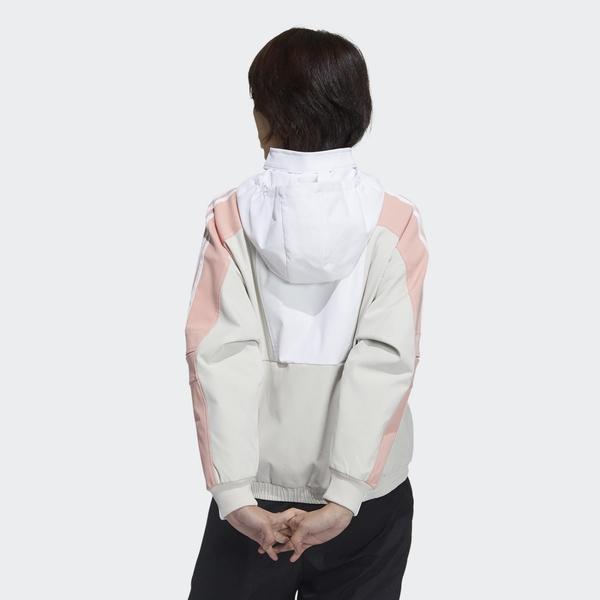 ADIDAS STR JKT WARM 女款白x米x粉OVERSIZE內刷毛風衣連帽外套-NO.GP0635