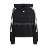 adidas 長袖T恤 3 Stripes Hoodie 黑 白 女款 帽T 運動休閒 【ACS】 GL1460