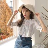 夏季女裝新品圓點條紋印花一字領性感露肩上衣百搭兩穿休閒襯衫潮·Ifashion