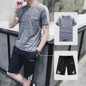 快速出貨 一套】短褲男潮天男士5五分褲夏季 運動服休閒寬鬆跑步短袖套裝
