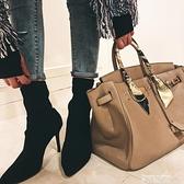 細跟鞋2021秋冬新款靴子高跟鞋細跟彈力靴短靴女單靴瘦瘦靴短筒黑色裸靴 美物 交換禮物