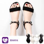 時尚街頭金屬裝飾露趾平底涼鞋/4色/35-43碼 (RX1685-020-84) iRurus 路絲時尚