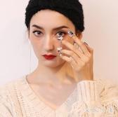 日韓版仿珍珠開口可調節指甲蓋戒指可愛貓咪四件套指環裝飾戒 FF1608【衣好月圓】