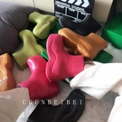 阿希哥mona阿水同款牛油果綠色雨靴雨鞋厚底馬丁靴短靴切爾西靴女 設計師生活百貨