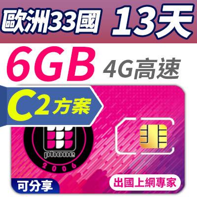 【TPHONE上網專家】歐洲全區移動C2方案 33國 13天 超大流量6GB高速上網 插卡即用 不須開通