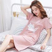 韓版睡裙女夏純棉短袖甜美清新睡衣女夏天可愛卡通學生寬鬆家居服 多色小屋