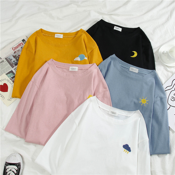 清倉188 韓系寬鬆圖案刺繡防曬衫百搭T恤套頭長袖上衣