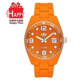 Adidas 台灣授權代理公司貨 出清7折 街頭多彩格紋矽膠腕錶 ADH6165 橘色