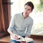 男士春季歐美條紋牛仔襯衣立領修身純棉長袖襯衫