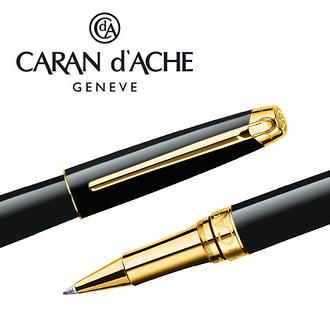 CARAN d'ACHE 瑞士卡達 LEMAN 利曼亮黑漆鋼珠筆(金夾) / 支