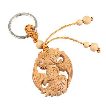 開光桃木 雙魚吐錢鑰匙扣U011