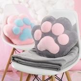 腰靠墊原創可愛貓爪抱枕被子兩用辦公室午睡毯子靠墊腰靠汽車珊瑚絨被完美