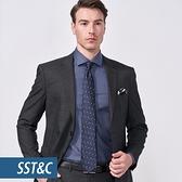 SST&C 男裝 黑色格紋修身西裝外套   0112010010