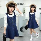 童裝2018新款韓版時尚中大童女童牛仔吊帶短裙 GY1426『寶貝兒童裝』