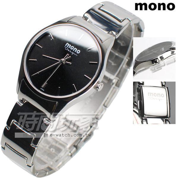 mono 馬鞭草系列 簡約圓錶 藍寶石水晶 不銹鋼帶 黑色 女錶 Z3199黑釘小