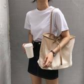 新款ins簡約撞色帆布包手提布包購物袋大容量側背包休閒女包春季新品