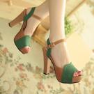 中大尺碼女鞋 2021夏季新款粗跟魚嘴涼鞋高跟防水臺一字扣舒適羅馬休閑工作女鞋大碼43