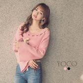 東京著衣【YOCO】女神就差這一件圓領簍空針織喇叭袖上衣-S.M.L(172702)