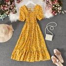 方領洋裝 2021夏韓版氣質方領露背短袖雪紡長裙女甜美百搭大擺碎花連身裙 寶貝 免運