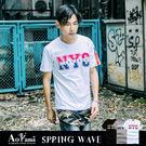 短T【A1156】 NYC雙色印花MA-1造型口袋搭練圓領短T 青山AOYAMA