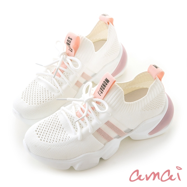 amai《文字標語》極輕量針織休閒運動鞋 白
