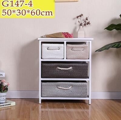 美式田園風復古床頭櫃實木籐編收納櫃臥室床邊櫃多層儲物小櫃子【G147-4白】