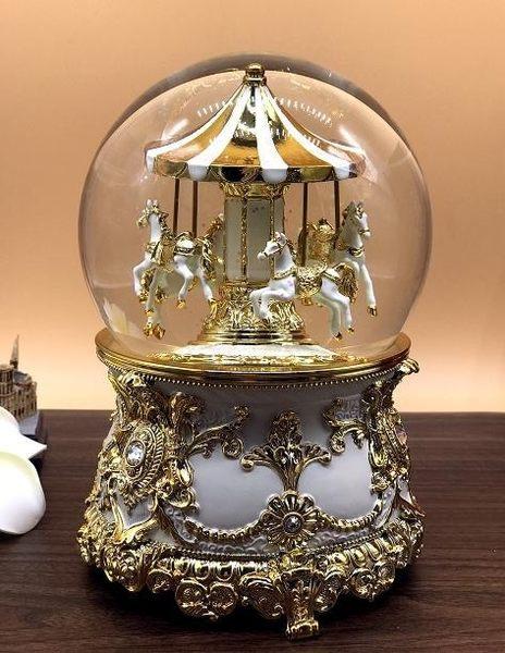 JARLL旋轉遊樂馬 水晶球音樂盒 華麗金 情人節 愛情 生日禮物 擺飾