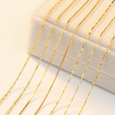 鍍金項鍊 彩金項鍊女925純銀鍍金黃金色裸鍊18K金單鍊子鎖骨鍊【快速出貨】
