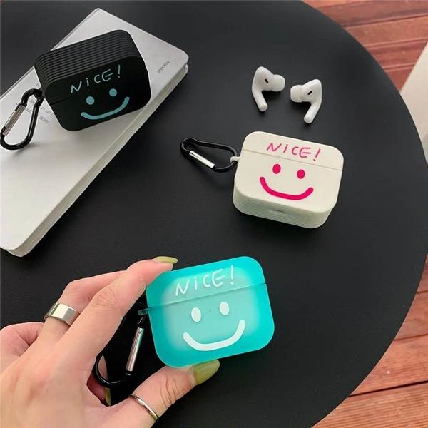 Airpods Pro 專用 1/2代 台灣發貨 [ 簡約線條笑臉 ] 藍芽耳機保護套 蘋果無線耳機保護