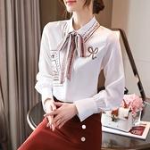 長袖襯衫韓版S-2XL系帶印花襯衫女士百搭設計感小眾上衣春秋季新款雪紡襯衣T614依佳衣
