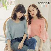 東京著衣-tokichoi-清甜優雅多色V領飛鼠袖上衣(190281)