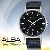 ALBA 雅柏 手錶專賣店 AG8H29X1 石英男錶 皮革錶帶 黑 防水50米 日期顯示 全新品 保固一年