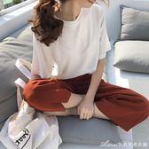 T恤 夏季新款體恤女裝韓版純色短袖百搭寬鬆T恤上衣服潮  艾美時尚衣櫥