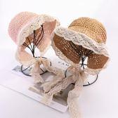 女童草帽寶寶帽子夏季防曬兒童遮陽帽