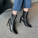 手工真皮女鞋34~40 2020新款百搭顯瘦小方頭彈力靴 高跟短靴 瘦瘦靴~2色