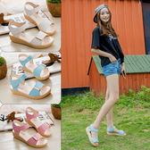 2018夏季新款女生露趾涼鞋百搭平底女學生簡約涼鞋厚底中跟韓版潮