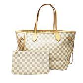 【Louis Vuitton 路易威登】N41361 經典Damier Neverfull MM肩背包(白格)