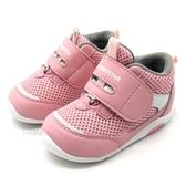 《7+1童鞋》寶寶 日本月星 MOONSTAR 透氣網布 機能鞋 運動鞋 學步鞋 高筒鞋 D433 粉色