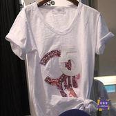 棉麻上衣 白色短袖T恤女2019夏裝新款棉麻寬鬆大碼V領竹節棉半袖韓版上衣潮 白色S-4XL