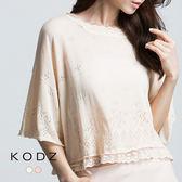 東京著衣【KODZ】鏤空織紋拼接蕾絲針織上衣(6015462)