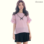 韓版--甜美氣息圓領蕾絲花V形蝴蝶結裝飾荷葉五分短袖上衣(粉XL-5L)-U495眼圈熊中大尺碼◎