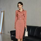 VK精品服飾 韓國風名媛氣質方領配腰帶收腰長袖洋裝