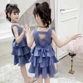 超洋氣女童連衣裙2020新款夏裝兒童網紅裙子小女孩時尚背心雪紡裙 依凡卡時尚